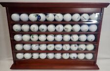 Wood Display Rack & Unique Golf Ball Collection of Courses Played Many Michigan
