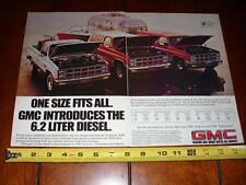 1982 GMC 6.2 DIESEL PICK UP BLAZER SUBURBAN - ORIGINAL 2 PAGE AD