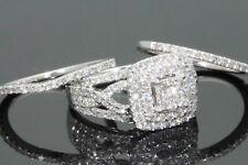 10K WHITE GOLD 1.70 CARAT WOMEN REAL DIAMOND ENGAGEMENT RING 2 WEDDING BANDS SET