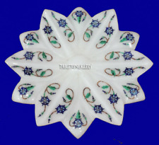 "5"" White Marble Fruit Bowl Real Malachite Floral Mosaic Inlay Home Decor H2250"