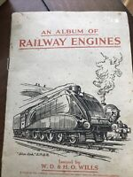 Antique  ALBUM OF RAILWAY ENGINES By WILLS Cigarette 49 Stamps Circa 1938 Trains