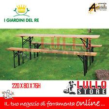 BIRRERIA SET BIRRERIA TAVOLO E PANCHE RICHIUDIBILE GIARDINO IN LEGNO 220X80X76H