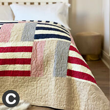 Luxury 100% Cotton Red Blue Beige Double / King Size Patchwork Quilted Bedspread