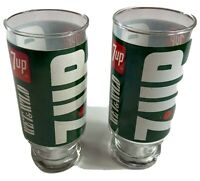 Lot of Two 1970's 7 Up The Uncola Wet & Wild Pedestal Drinking Glasses EUC