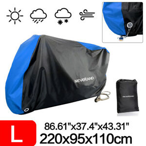 UK Large Blue Motorcycle Motorbike Cover Outdoor Scooter Rain Dust UV Protector