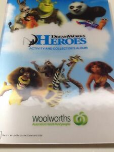 Woolworths 3D Lenticular Dreamworks Hero Card Album 42 Cards
