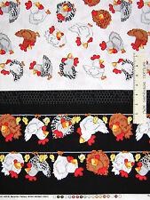 """Fowl Play Fabric - Farm Chicken Hen Double Border - Benartex Kanvas 27"""""""