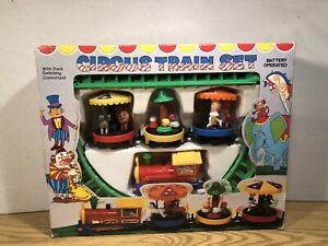 Vintage Battery Operated Circus Train Set - Tested And Working In Original Box!