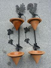 Kerzenhalter 2er Set  Wandleuchter Metall schwarz mit Terracotta
