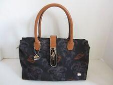 La Bagagerie Black Floral Nylon Leather Handbag Purse EUC