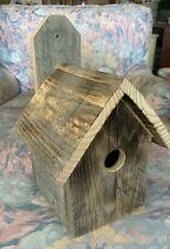 Handmade vintage barn wood bird house with easy clean bottom mount style