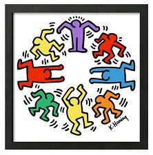 Keith Haring CIRCLE OF MEN Dance 12x12 Giclee Pop Art Framed Print **SALE
