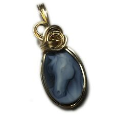 Cameo Pendant Horse 14k - Gold Filled Carved Agate w/ Leather necklace 25g3-6 Z