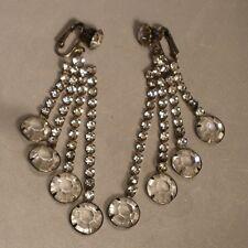 Rhinestone and Cut Crystal Chandelier Clip On Earrings