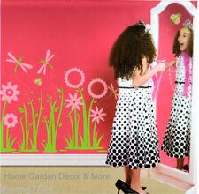 Pink Daisy Flower Dragonfly Ladybug Girl Wall Decal Applique Art Sticker Mural