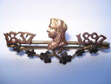 UNUSUAL 1837-1897 DIAMOND JUBILEE SOUVENIR PIN BROOCH