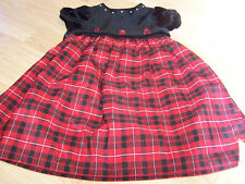 Girl's Size 5 Little Bitty Christmas Holiday Dress Red Black Plaid Velour Bodice