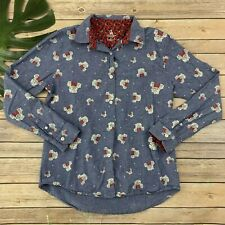 Disney Parks Womens Minnie Mouse Button Up Shirt Size S Long Sleeve Blue Roses