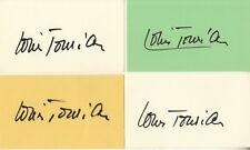 LOUIS JOURDAN hand-signed 3x5 INDEX CARD LOT .... 4 cards .... AUTHENTIC w/ COA