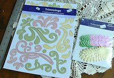 A4 CHIPBOARD Flourishes BABY Sheet PINK YELLOW GREEN Scrolls & Flowers - fti L6