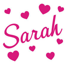 Personalised Name Hearts Wall Art, Boys Girls Kids Bedroom,Custom Vinyl Sticker