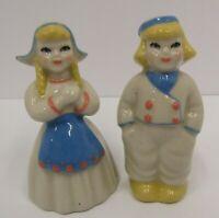 Vintage Ceramic Arts Studio Dutch Children Boy Girl Small Salt & Pepper Shakers