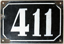 Large old black French house number 411 door gate plate plaque enamel metal sign