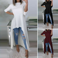 UK Womens Summer Casual Loose O Neck High Low Long Sleeve Tops Maxi Shirt Blouse
