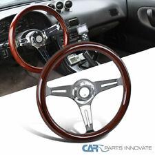 "340MM 13.5"" 3 Spoke Classic Wooden Grain Deep Dish Steering Wheel+Black Trim"