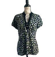 Style & Co Macys Black Green Metallic Dots Silver Jeweled Neckline Stretch Sz L