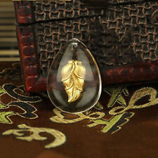 New 24K Yellow Gold Man-made Crystal Fashion Lucky Craved Leaf Pendant