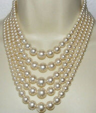 """very pretty Natural 6-12mm five strands Akoya white shell pearl necklace 18""""-23"""""""