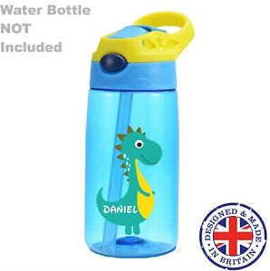 Personalised Dino Kids Water Bottle Lunch Box Stickers School Name Labels Boys