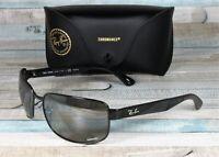 RAY BAN RB3566Ch 002 5J Shiny Black Grey Mirror Polarized 65 mm Men's Sunglasses