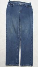 Lee Riders Blue Women's Solid Denim Jeans Long Cotton Poly Spandex Sixteen 16L