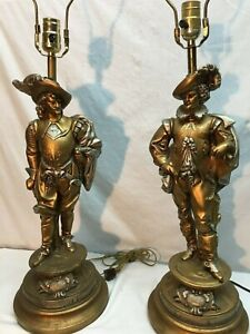 Vintage Mid Century Coquistador Pair of Table Lamps Chalk ware 24in Tall