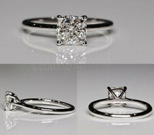 Engagement Wedding Ring 925 Sterling Silver 1.25 Ct Off White Cushion Moissanite