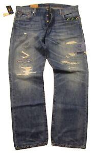 Polo Ralph Lauren Men's Blue Multi Graphic & Patch Classic Fit Distressed Jeans