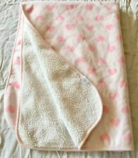 The Childrens Place suede Pink heart White Baby Blanket Fleece lovey SOFT HTF