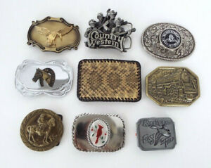 Vintage Belt Buckle Lot Country Western 70s 80s Brass Reptile Stone Estate Lot 3