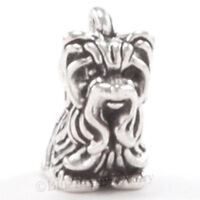 YORKIE Charm Yorkshire Terrier Dog Pendant solid .925 STERLING SILVER 3D  925