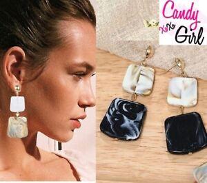 Big Geometric 2 Tier Black & Cream Square Acrylic Long Drop Fashion Earrings