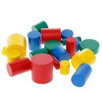 Sensory Toys Shapes Wood Cylinder Blocks Montessori Kids Baby Toys 6L