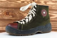 Converse All Star Boots Sz UK 6.5 M Green Round Toe Paddock Leather Men
