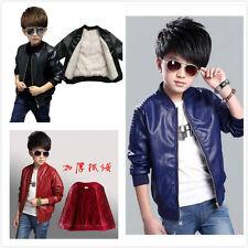 Warm Winter Kids Boy fleece PU soft Leather Jacket thicken Motorcycle Coats Gift