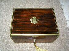 ANTIQUE FRENCH VICTORIAN ERA ROSEWOOD JEWELLERY ETC BOX/BRASS INLAY, LOCK & KEY.