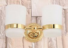 Gold Color Brass Bathroom Wall Mounted Double Glass Cups Toothbrush Holders