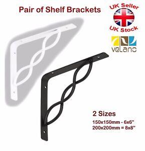 2 x Decorative Shelf Supports Metal Interlaced Bracket Black or White 2 Sizes
