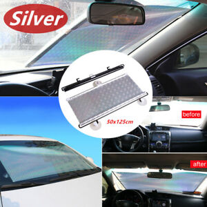 Retractable Silver Windshield 50x125cm Sunshade Shade UV Visor Curtain for Car