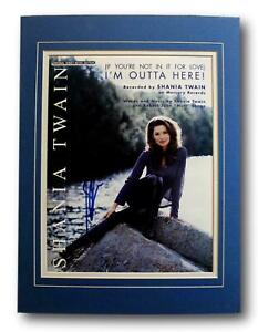 Country Pop Superstar Shania Twain Hand Singed Autographed Sheet Music Display